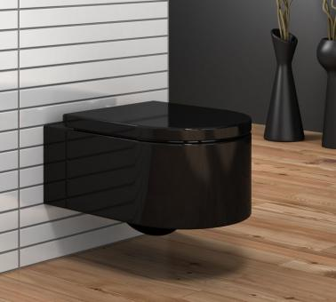 """Wand WC mit Soft-Close WC-Deckel """"Marseille"""" schwarz"""