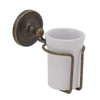 Becherhalter Keramik / Messing alt antik gebürstet