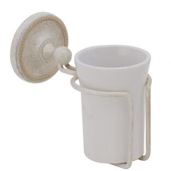 Becherhalter Keramik / Messing weiß antik gebürstet