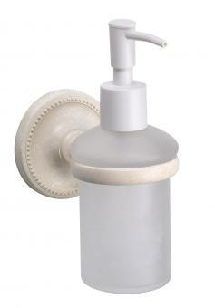 Seifenspender Glas / Messing weiß antik gebürstet