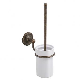 Wand WC-Bürste Keramik / Messing alt antik gebürstet