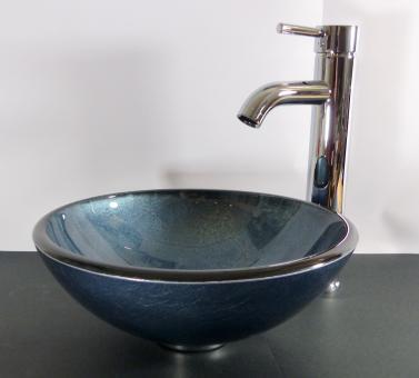 Aufsatz Glas Waschbecken rund blau grau 31cm