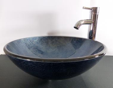 Aufsatz Glas Waschbecken rund blau grau 42cm