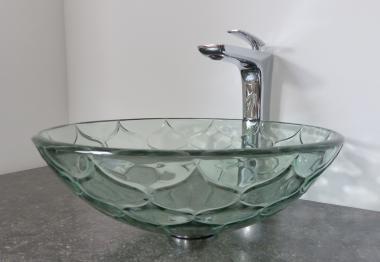 Design Aufsatz Glas Waschbecken GRAVUR rund