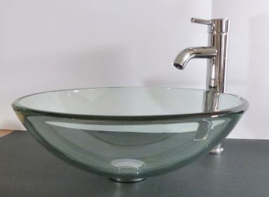 Aufsatz Glas Waschbecken Klarglas 42cm