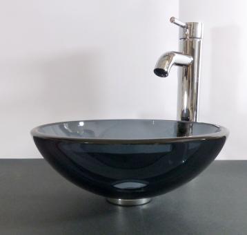 Aufsatz Glas Waschbecken grau 31cm