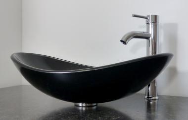 Aufsatz Glas Waschbecken schwarz oval