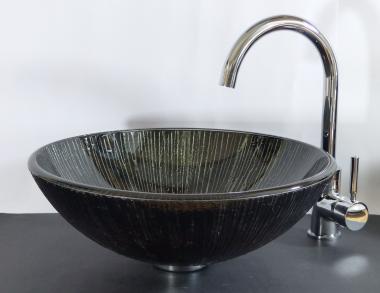 """Aufsatz Glas Waschbecken rund schwarz braun """"Lava"""""""