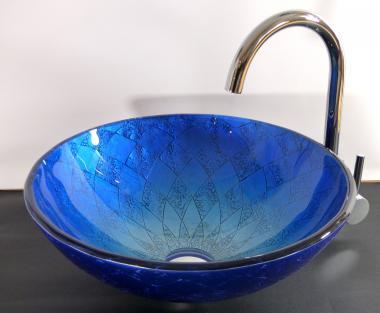 """Aufsatz Glas Waschbecken """"Siena"""" blau 42cm"""