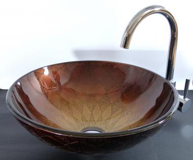 """Aufsatz Glas Waschbecken """"Siena"""" braun 42cm"""