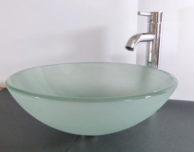 Aufsatz Glas Waschbecken satiniert 42cm