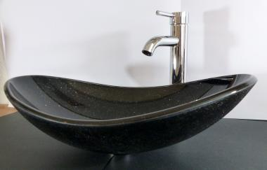 Aufsatz Glas Waschbecken schwarz Granit Look oval