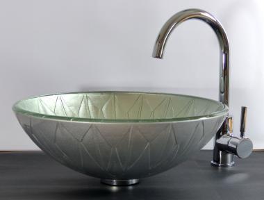 Aufsatz Glas Waschbecken silber 42cm