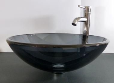Aufsatz Glas Waschbecken grau 42cm