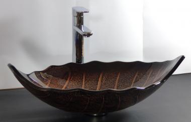 Aufsatz Glas Waschschale oval Blattform braun