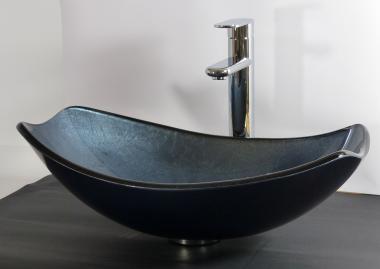 Aufsatz Glas Waschbecken blau grau oval eckig