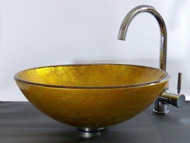 """Aufsatz Glas Waschbecken """"Sol"""" gold rot"""