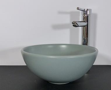Kleines Keramik Aufsatz Waschbecken rund hellgrau matt