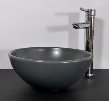 Kleines Keramik Aufsatz Waschbecken rund grau matt