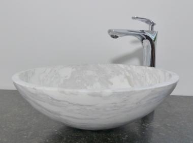 Aufsatz Waschbecken rund Marmor weiß grau