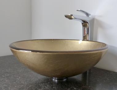 Aufsatz Glas Waschbecken hellgold rund 42cm