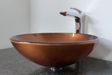 Aufsatz Glas Waschbecken Kupfer gold rund 42cm