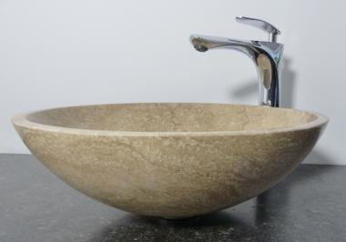 Aufsatz Waschbecken rund Marmor beige braun