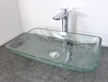 Design Aufsatz Glas Waschbecken eckig schwer