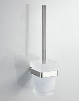 WC-Bürstengarnitur eckig massiv Edelstahl gebürstet matt