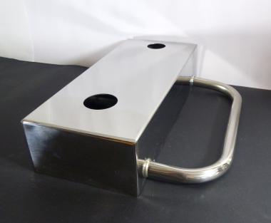 Gäste-WC Edelstahl Waschtisch Wandkonsole für Aufsatz Waschbecken 31cm