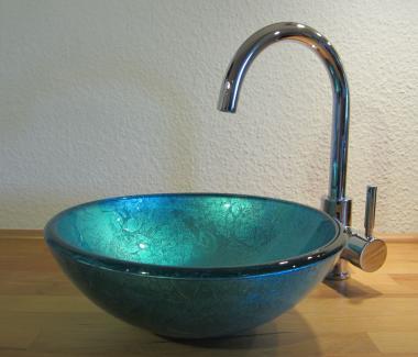 Aufsatz Glas Waschbecken blau 31cm