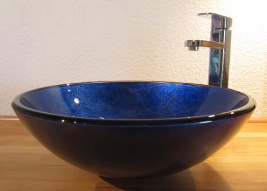 Aufsatz Glas Waschbecken blau lila 42cm