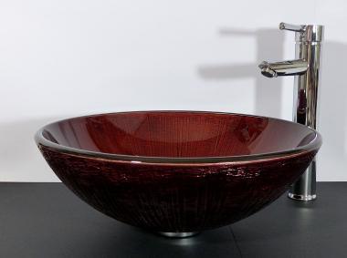 Aufsatz Glas Waschbecken rund braun rot gold