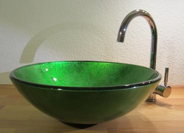 """Aufsatz Glas Waschbecken """"Antik"""" grün 42cm"""