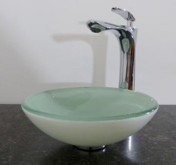 Aufsatz Glas Waschbecken klein weiß rund 29cm