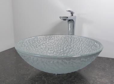 Aufsatz Glas Waschbecken silber Struktur 42cm