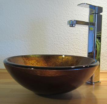 """Aufsatz Glas Waschbecken """"Antik"""" gold 31cm"""