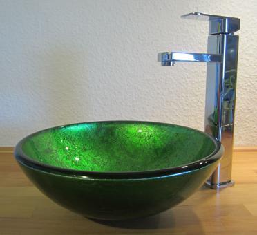 """Aufsatz Glas Waschbecken """"Antik"""" grün 31cm"""
