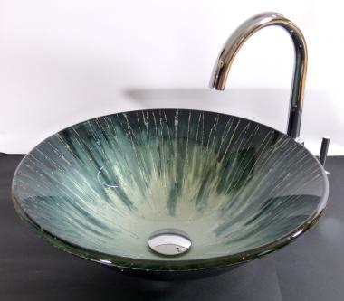 """Aufsatz Glas Waschbecken """"Aqua"""" 42cm rund"""