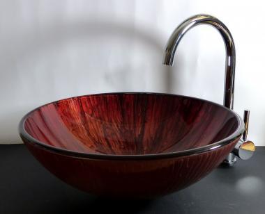 """Aufsatz Glas Waschbecken rund rot """"Lava"""""""