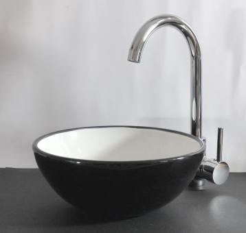 Keramik Aufsatz Waschbecken rund 28cm schwarz weiß