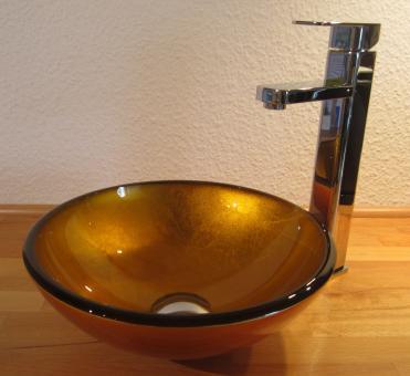 """Kleines Aufsatz Glas Waschbecken """"Sunshine"""" gold 31cm"""