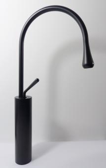 Hohe Design Armatur für große Aufsatz Waschbecken schwarz