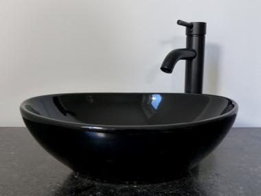 Keramik Aufsatz Waschbecken oval schwarz