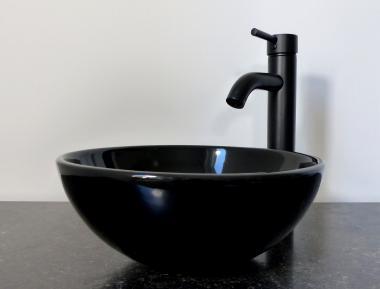 Keramik Aufsatz Waschbecken rund schwarz 32cm