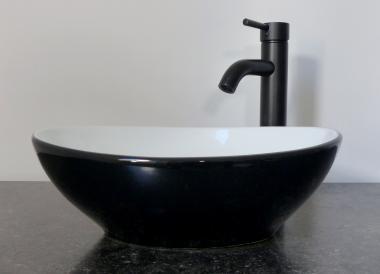 Keramik Aufsatz Waschbecken oval schwarz weiß