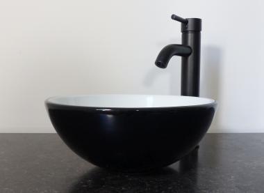 Keramik Aufsatz Waschbecken rund schwarz weiß 32cm