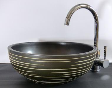 Design Keramik Aufsatz Waschschale rund schwarz