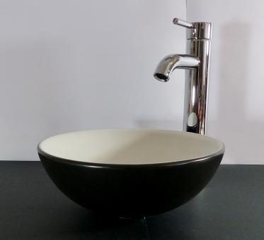 Keramik Aufsatzwaschbecken schwarz weiß MATT rund 28cm
