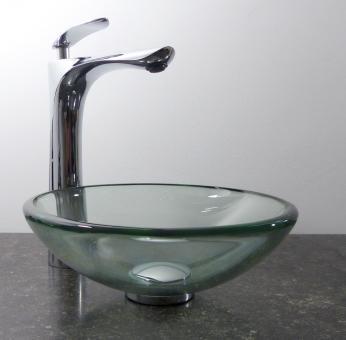 Kleines Aufsatz Glas Waschbecken Klarglas rund 29cm